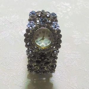 Vintage Rhinestone  Hinged Bangle Quartz Watch